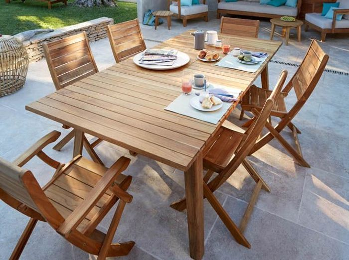 Solde table de jardin castorama mini salon de jardin for Table extensible blooma