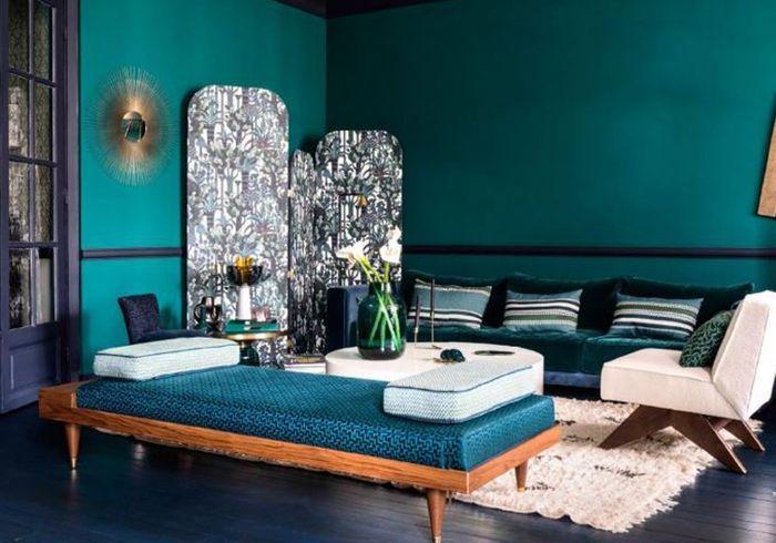 Un salon comme une palette de bleus