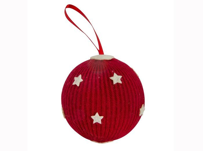 Boule de noel en tricot rouge