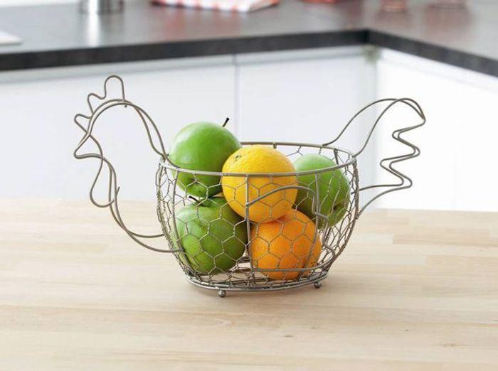 Deco poule corbeille a fruits