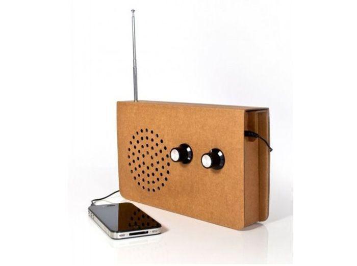 Radio en carton recyclé fleux