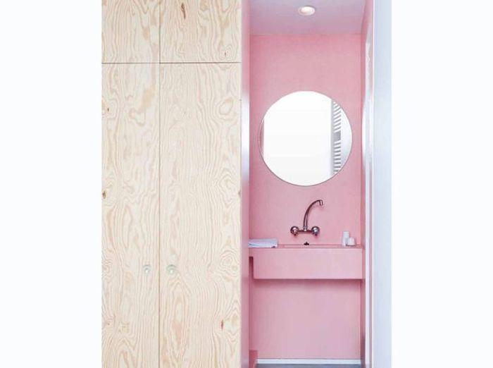 Petite salle de bains rose astucieuse