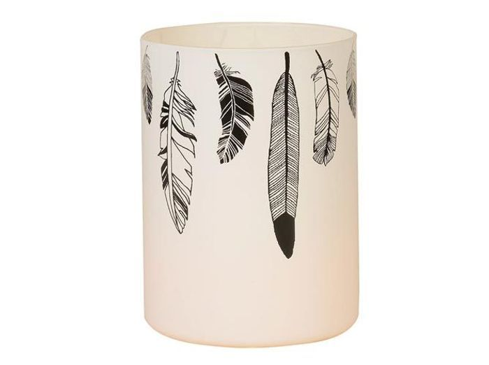 Un photophore avec des plumes black & white