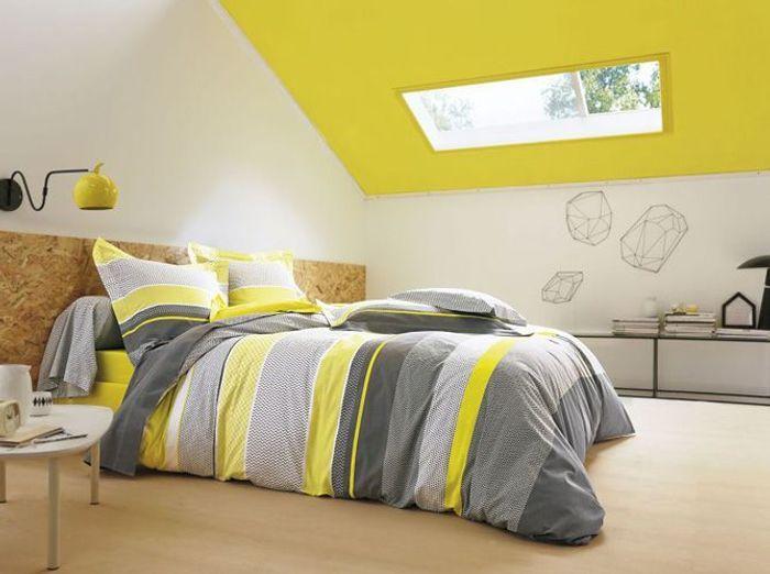 Chambre on mise sur des murs color s elle d coration for Housse de couette gris jaune