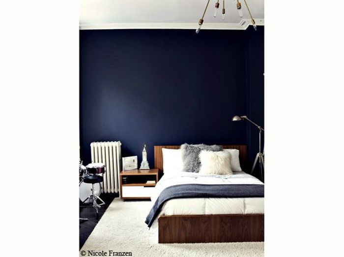 chambre couleur bleu nuit pr l vement d. Black Bedroom Furniture Sets. Home Design Ideas