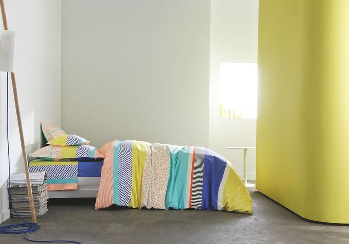 Linge de lit à rayures Blanc des Vosges