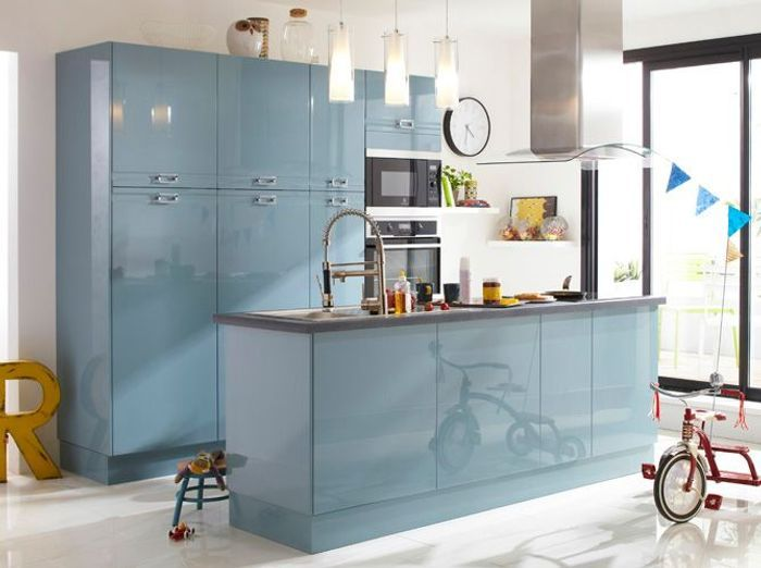 Je fonds pour une cuisine bleue - Elle Décoration