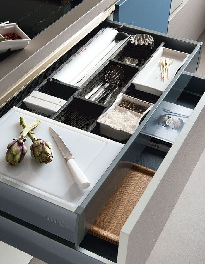 Meuble de cuisine : des tiroirs compartimentés