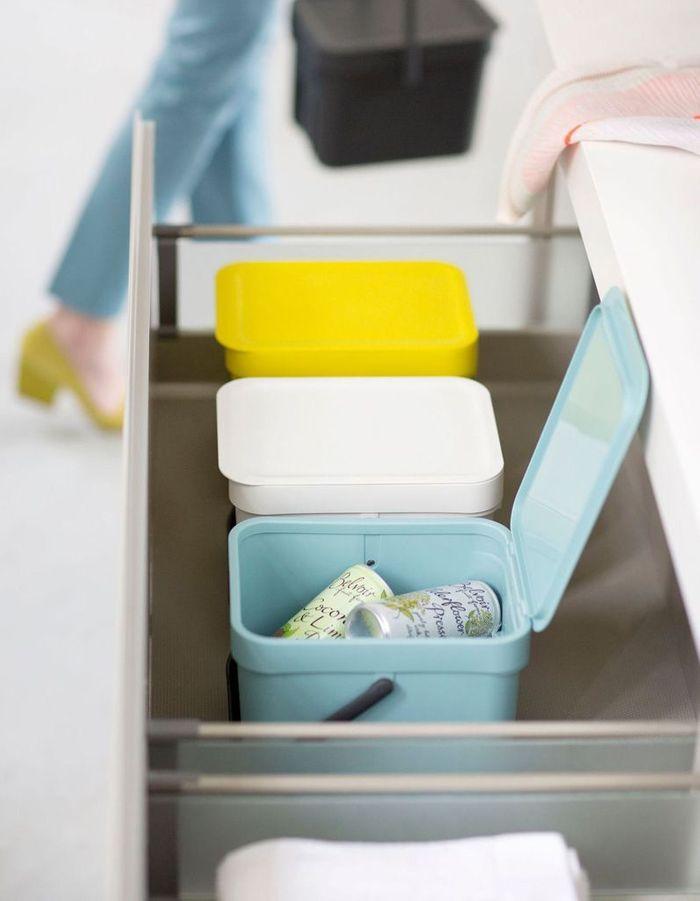 Des placards de cuisine pratiques pour le tri des ordures