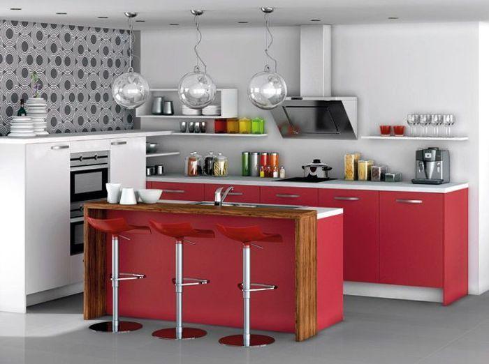 pleins feux sur la cuisine rouge elle d coration. Black Bedroom Furniture Sets. Home Design Ideas