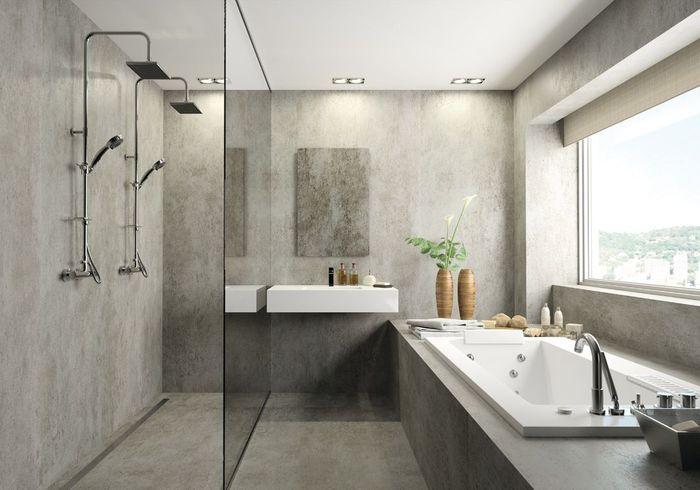 Une salle de bains design grise