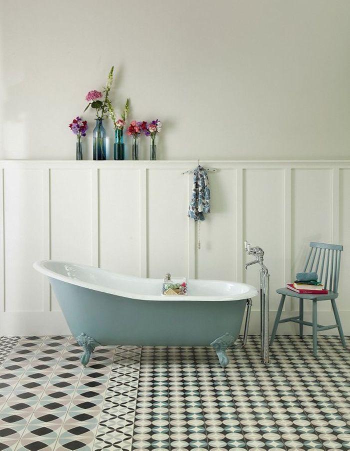 Salle de bains bleue The Cast Iron Bath Company