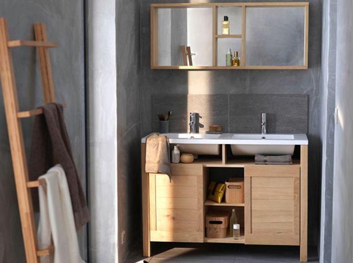 12 meubles de salle de bains pas chers elle d coration for Meuble en bois salle de bain pas cher