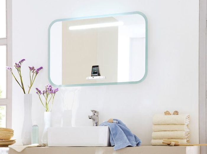 Miroir salle de bain elle d coration for Miroir salle de bain leroy merlin
