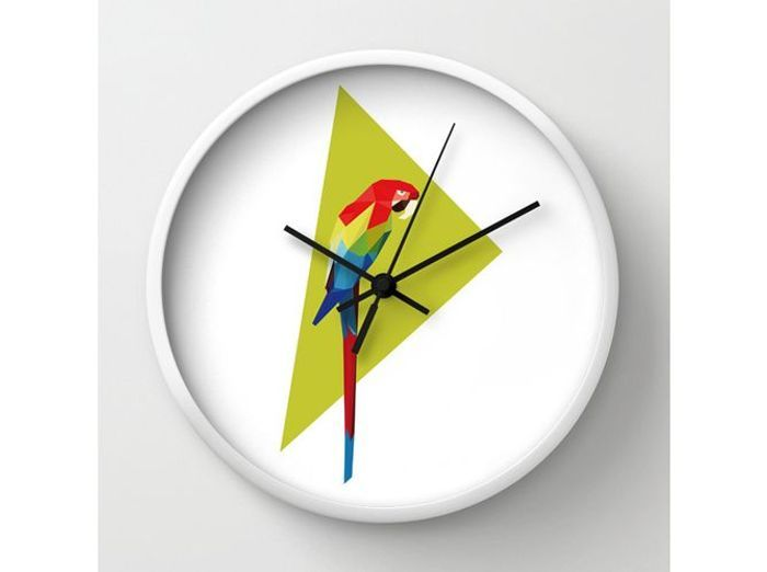 Une horloge avec perroquet version origami