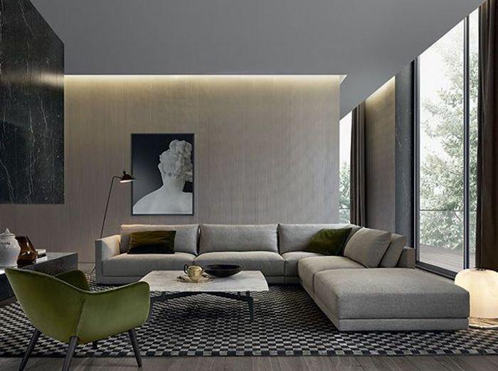Un salon élégant gris et vert