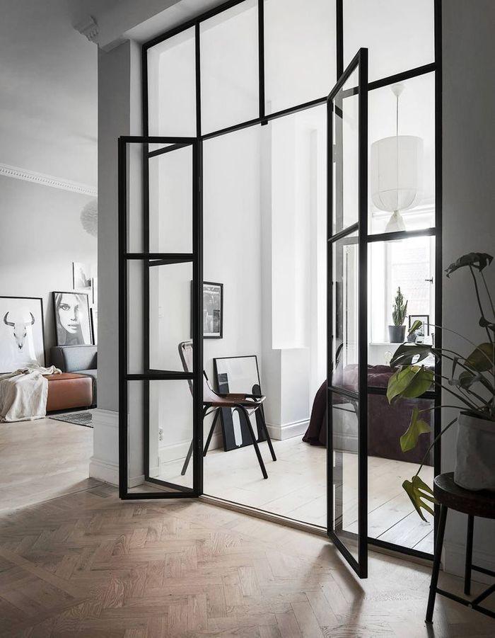 Double porte vitre affordable porte vitre en bois et avec Vitre pour porte interieure