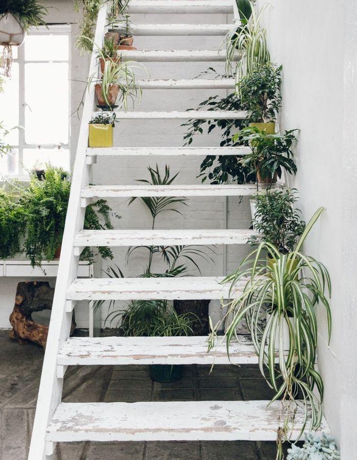 Déposer une plante sur chaque marche pour un escalier déco