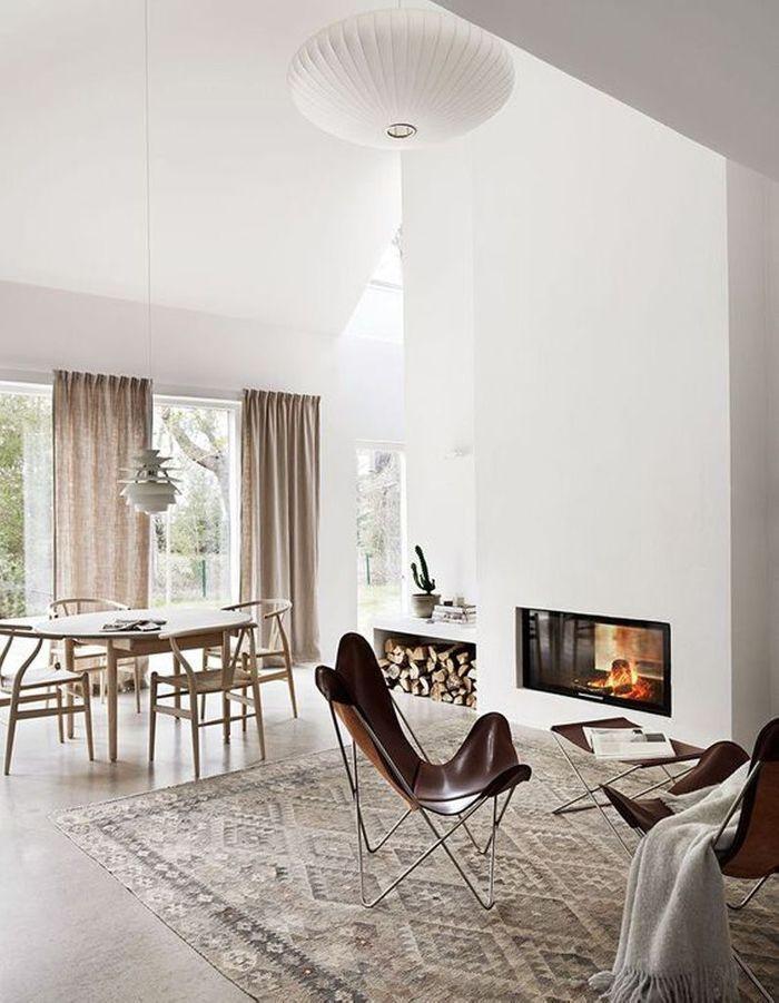 La cheminée moderne, reine du salon design - Elle Décoration