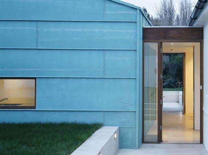 Extension maison contemporaine cuivre vert