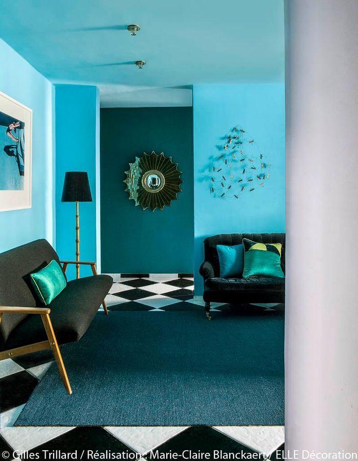 Salon Bleu Ciel Et Blanc : Peindre murs en bleu et vert dans appartement sympa l