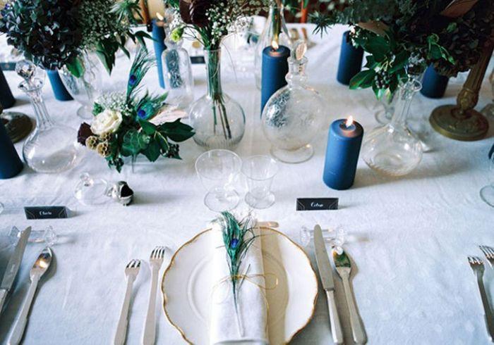 Bougies bleues pour table de mariage
