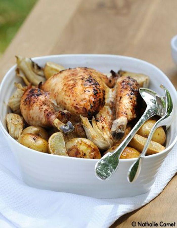 Poulet laque au four pommes de terre et fenouil au secours on est 10 table elle table - Cuisiner le fenouil au four ...