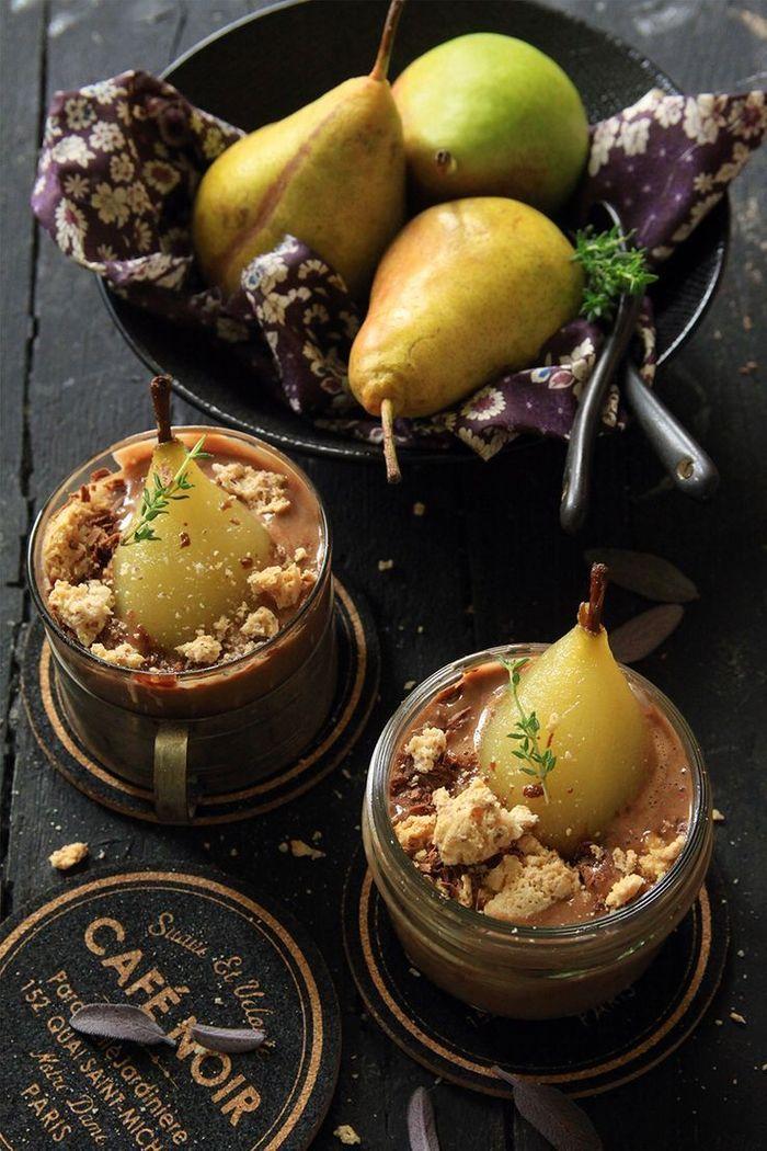 Tiramisu d'automne, pâte à tartiner et poires