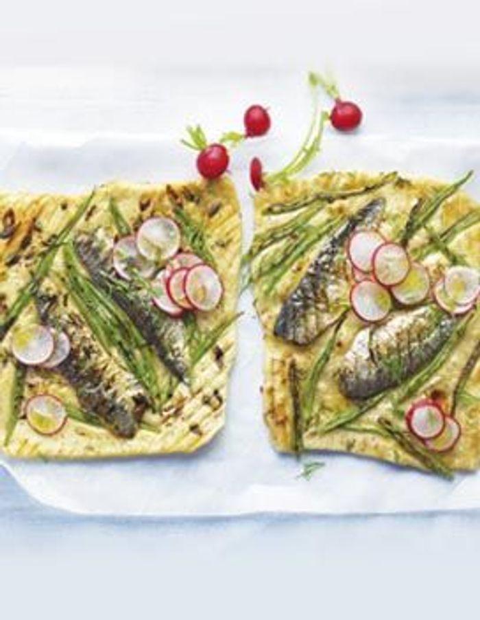 Petites pizza aux sardines et haricots plats