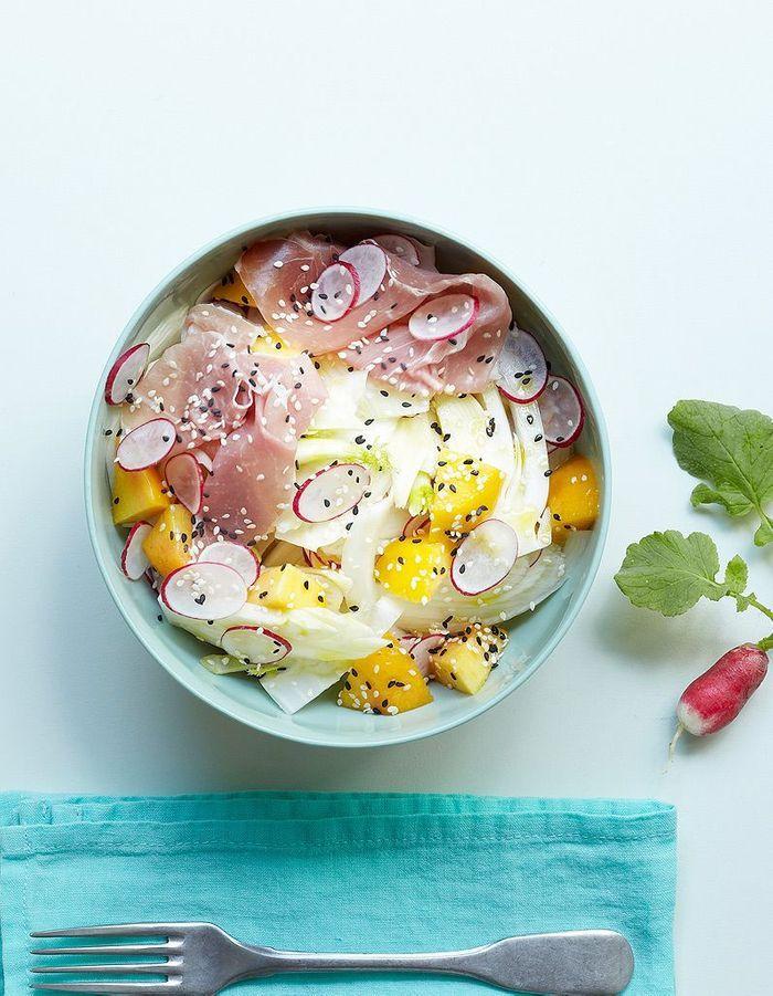 Salade fenouil, pêche, jambon cru