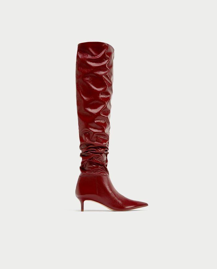Bottes rouges à mini talon Zara