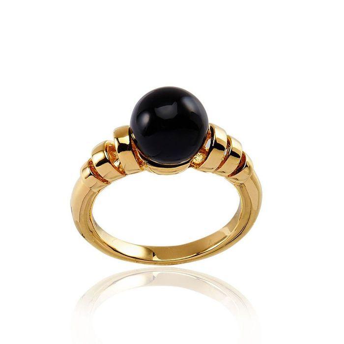 Bague plaquée or perle noire Cleor