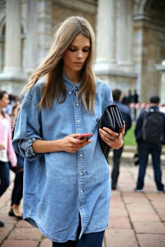 Chemise en jean comment porter la chemise en jean elle - Comment porter une chemise femme ...