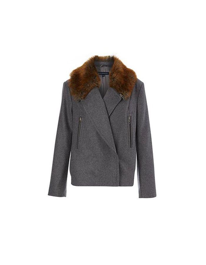 manteau gris col en fausse fourrure french connection quel manteau pour quelle tenue elle. Black Bedroom Furniture Sets. Home Design Ideas