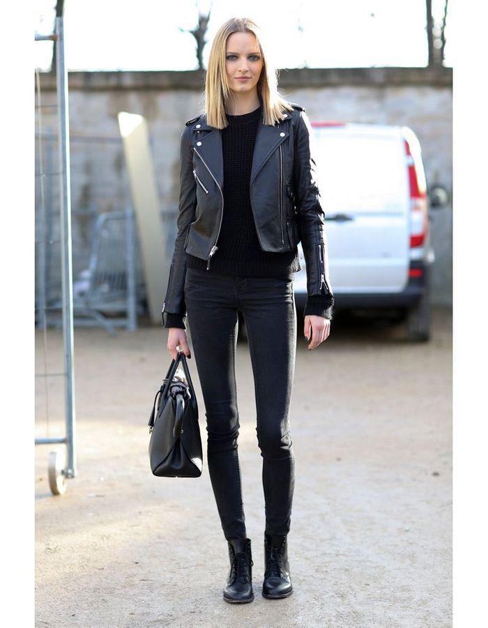 en total look noir 15 fa ons de porter la veste en cuir elle. Black Bedroom Furniture Sets. Home Design Ideas