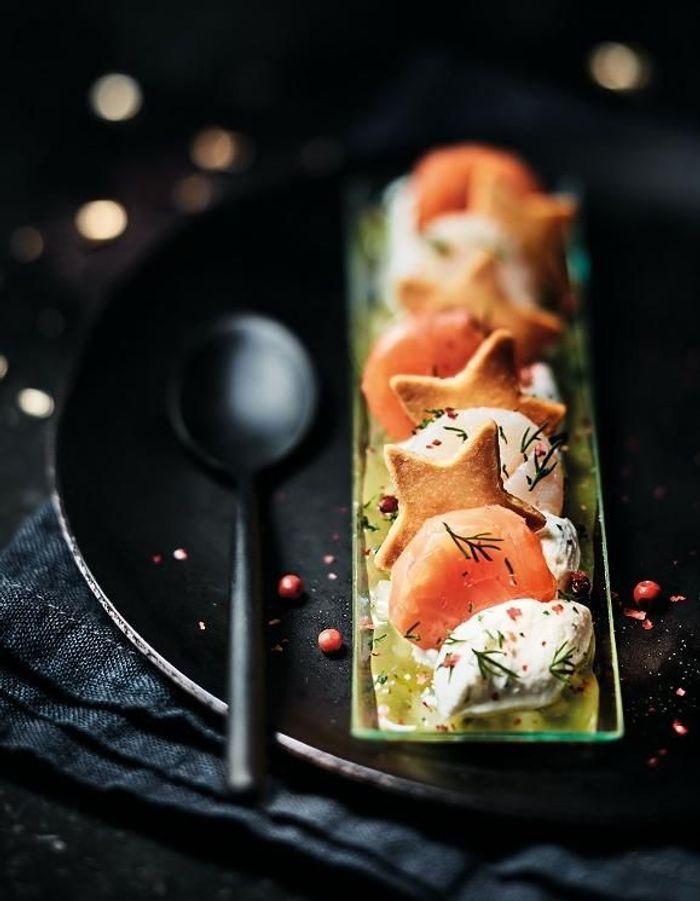 Duo de saumon confit et noix de Saint-Jacques, condiment pomme-citron, Picard