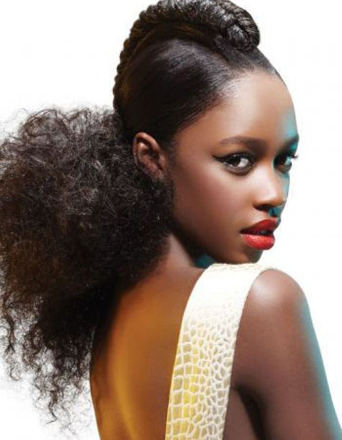 Coiffure cheveux afro frisu00e9s hiver 2015 - Coiffures afro  les filles stylu00e9es donnent le ton - Elle