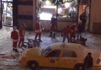Vidéo: les pères Noël bagarreurs, stars du Net