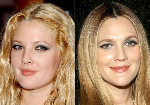 Les sourcils de Drew Barrymore avant/après