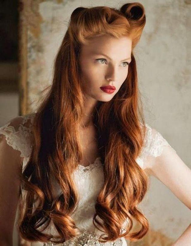Coiffure vintage cheveux roux