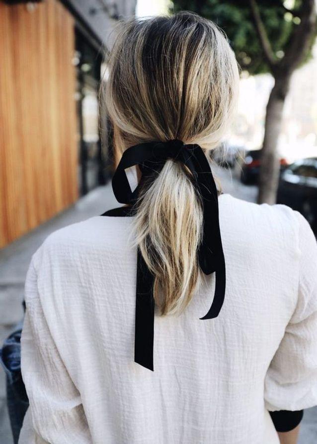 coiffure cheveux mi longs avec ruban automne-hiver 2017