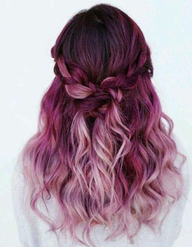 Ombré hair framboise