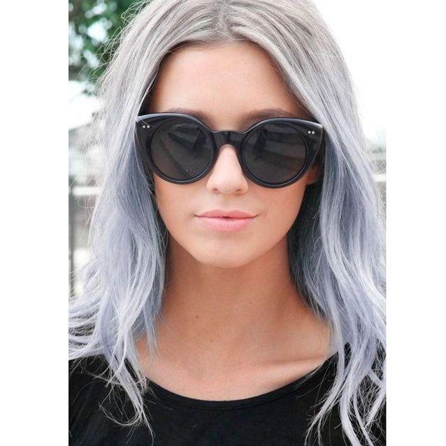 Ombré hair gris bleu