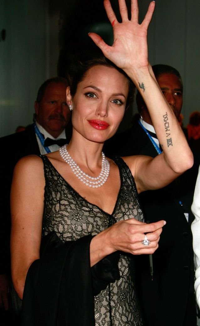Angelina Jolie and her forearm tattoos