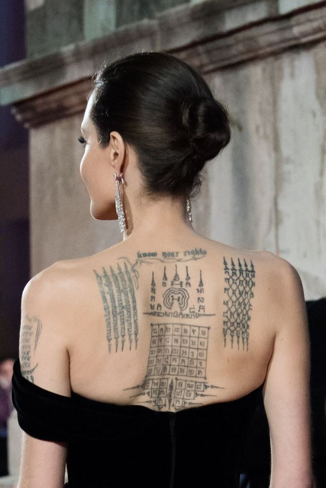 Angelina Jolie and her Buddhist tattoos