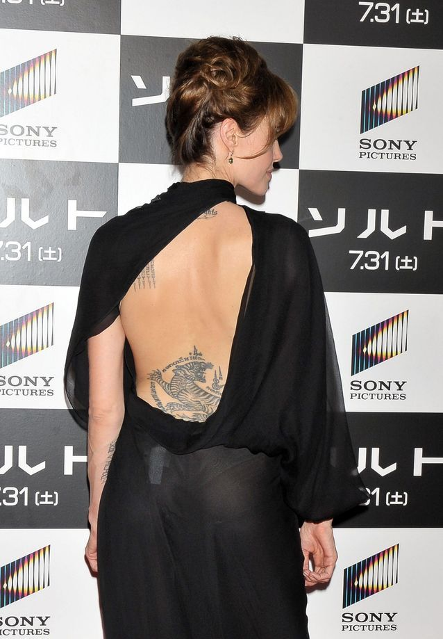 Angelina Jolie and her tiger tattoo