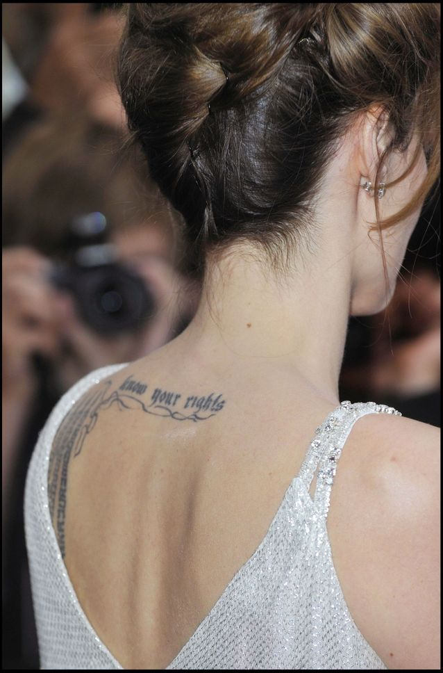 Angelina Jolie and her gothic letter tattoo