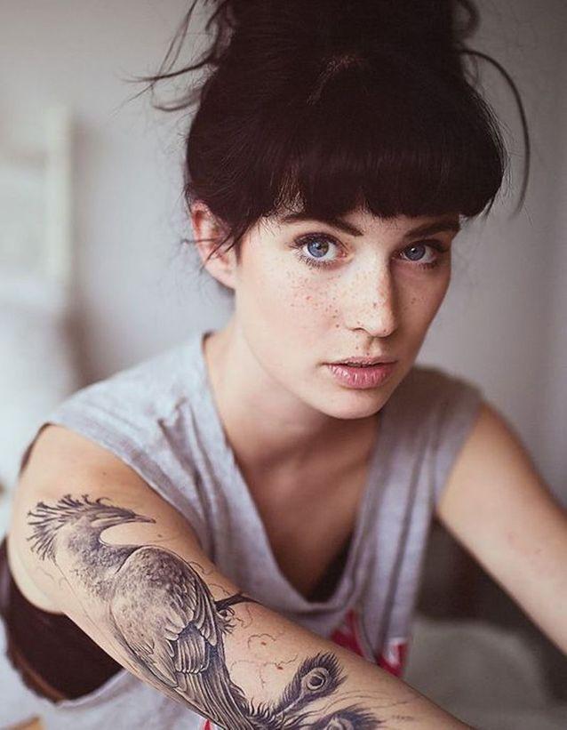 Idée tatouage : un paon en noir et blanc