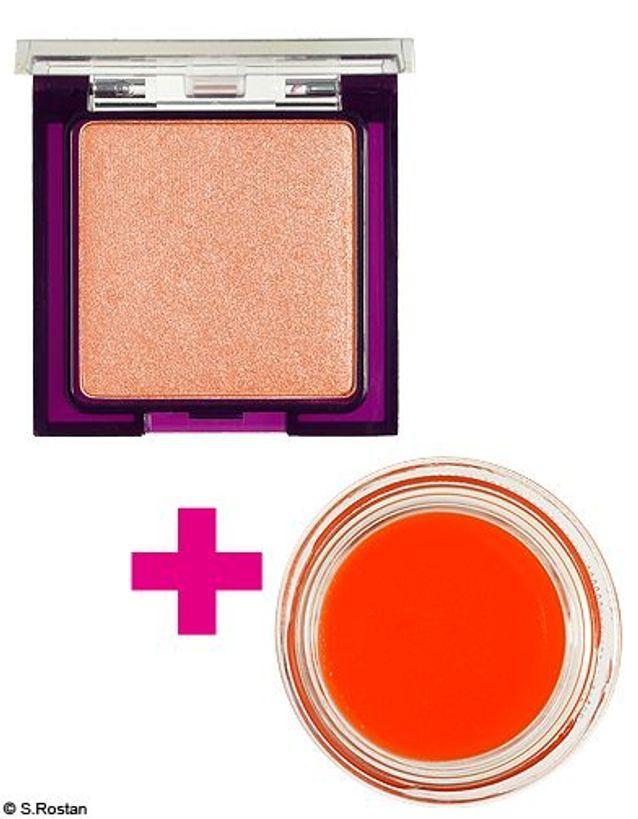 maquillage : paupières pêche et bouche mandarine