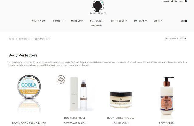 Site de maquillage anglais : Sable Beauty